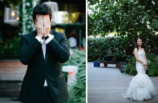 favorite first look wedding photos groom covers eyes