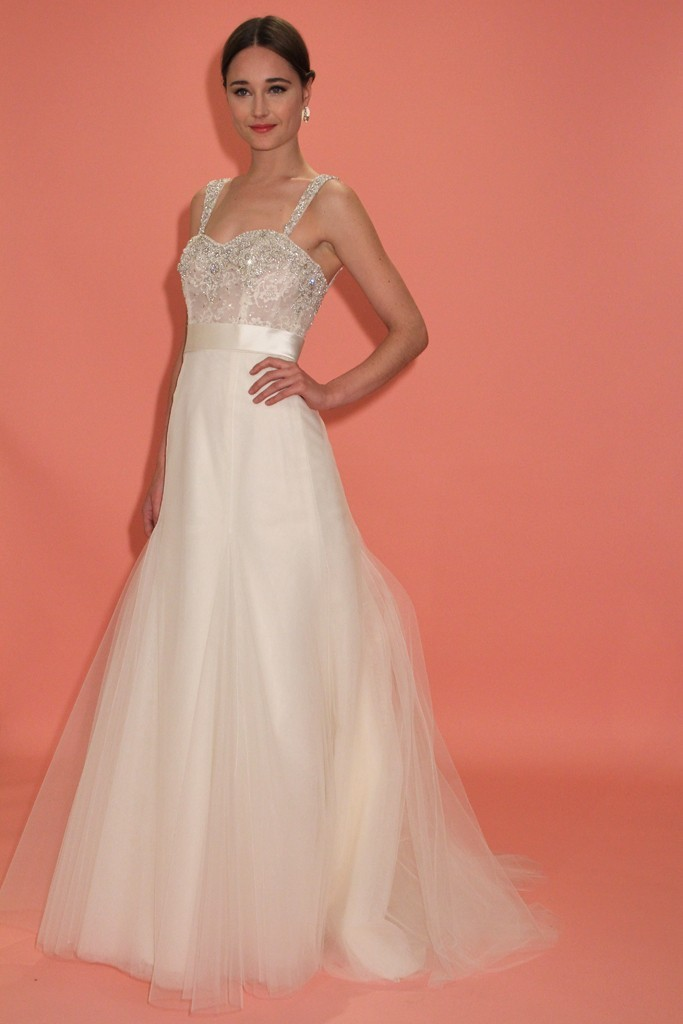 badgley mischka wedding dress spring 2013 bridal gowns fit and flare beaded straps