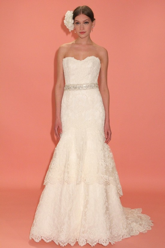 badgley mischka wedding dress spring 2013 bridal gowns lace mermaid strapless sweetheart