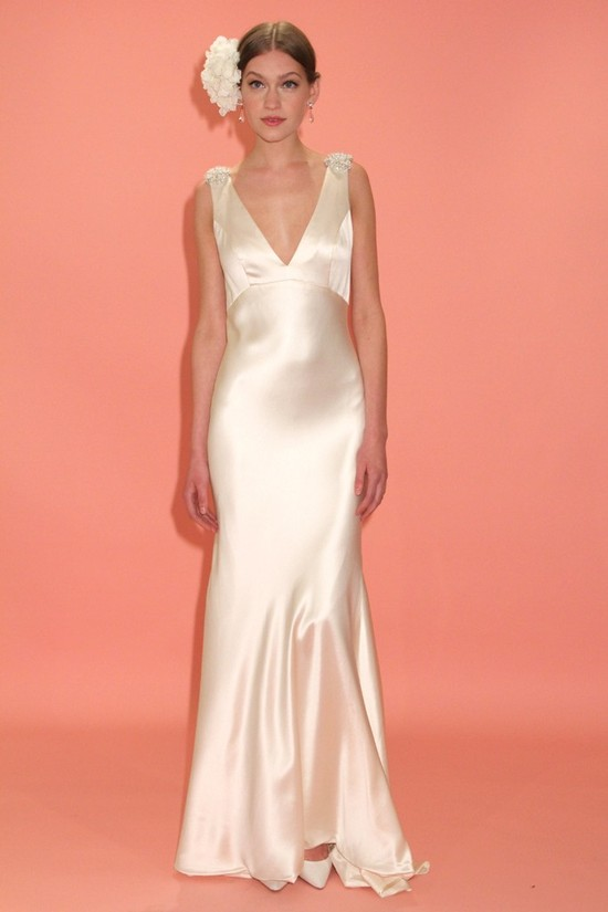 badgley mischka wedding dress spring 2013 bridal gowns bias cut silk v neck