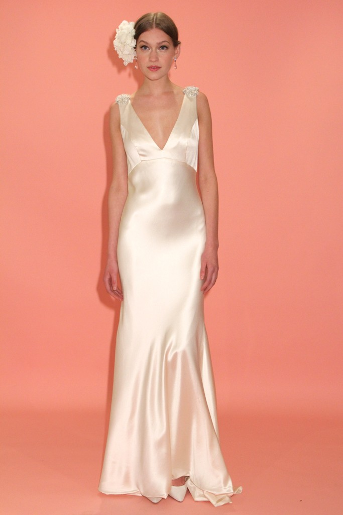 badgley mischka wedding dress spring 2013 bridal gowns bias cut silk v