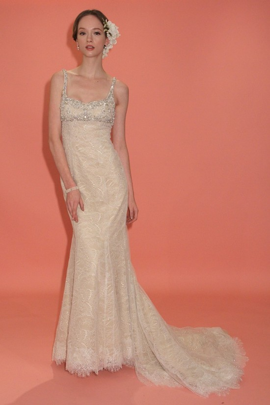 badgley mischka wedding dress spring 2013 bridal gowns beige empire