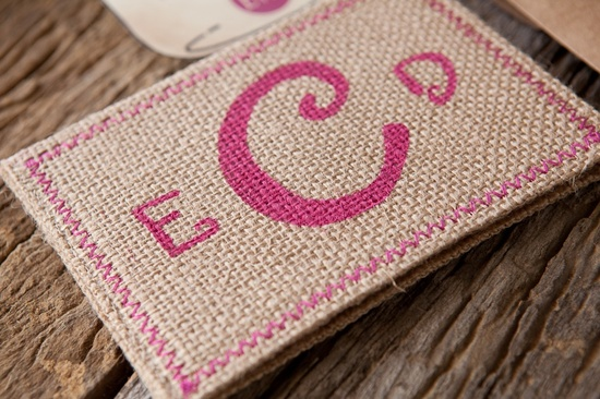 Burlap Pink Monogram Wedding Invitation Detail hot pink wedding colors 3