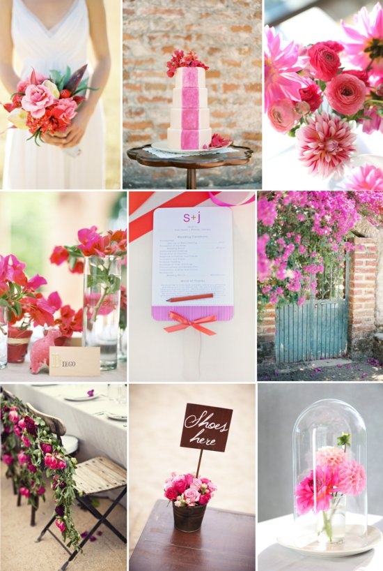 girly wedding color palette mixed hues of pink fuschia red spring summer outdoor weddings