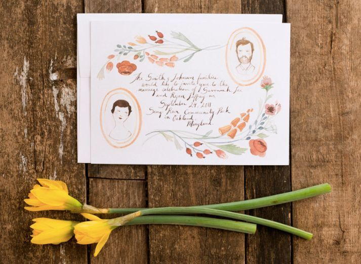 Illustrated Floral Portrait Hand Drawn Wedding Invitations