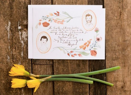 photo of Illustrated Floral Portraits Hand Drawn Wedding Invitations