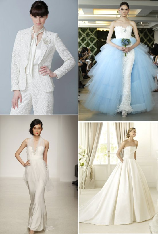 2013 wedding dress trends peplums pockets pants sheaths