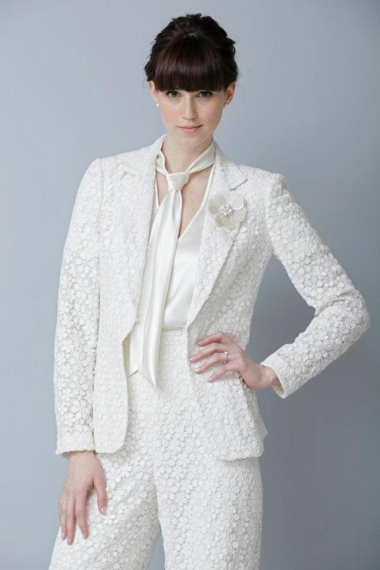 photo of theia 2013 wedding collection bridal pants suit