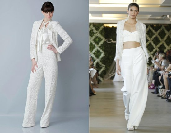 2013 wedding dress trends bridal pants suit