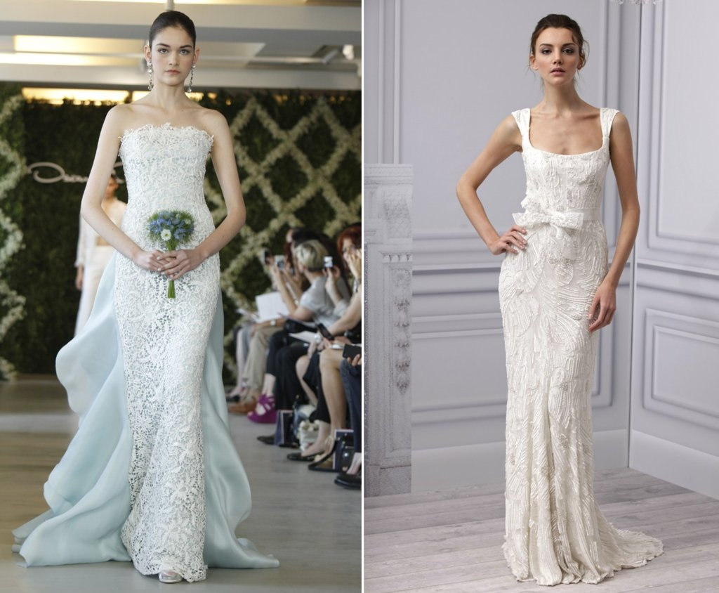 sheath wedding dresses 2013 bridal monique lhuillier oscar de la renta