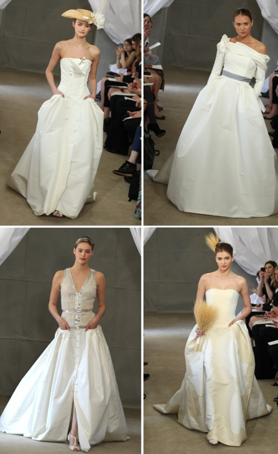 2013 wedding dress trends pockets carolina herrera bridal gowns