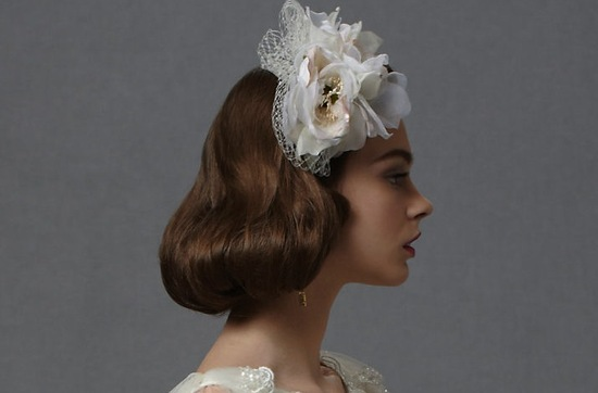short wedding hairstyle vintage inspired brides BHLDN 3
