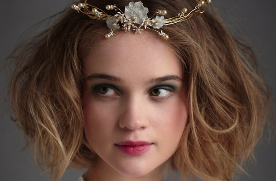 messy wedding hairstyle bohemian bride with short hair BHLDN tiara
