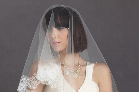 short wedding hair bridal bob romantic bridal veil BHLDN