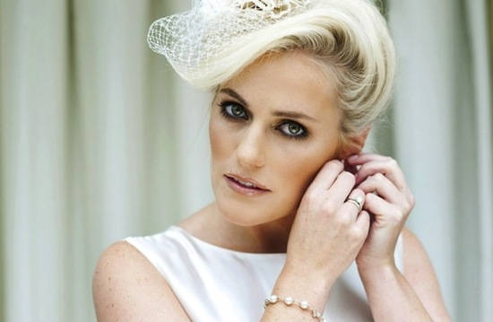 blonde bride with short hair retro bridal updo veil