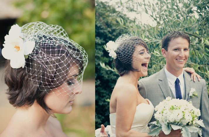 Short-wedding-hairstyle-brunette-bride-with-birdcage-veil.full