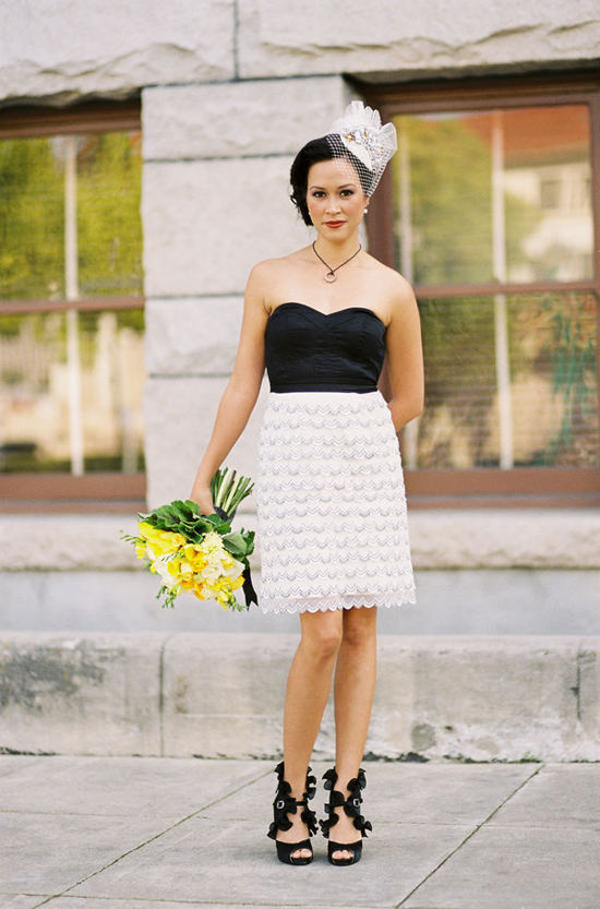 black white ruffles wedding reception dress