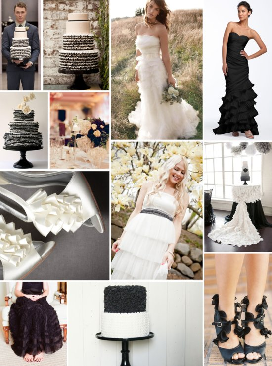 photo of Wedding Inspiration: Black, White, and Ruffly All Over