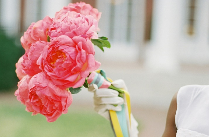 bright pink peony wedding flowers bridal bouquet