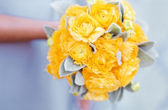 bright yellow bridal bouquet velvety leaf details