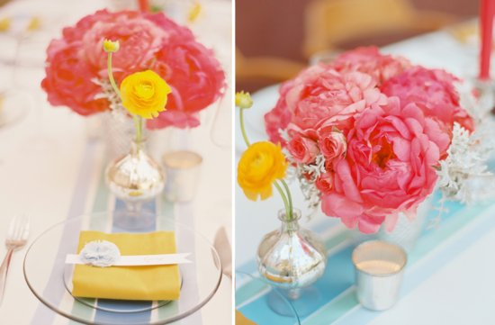 bright pink peony wedding flowers romantic reception centerpiece yellow anemones silver touches