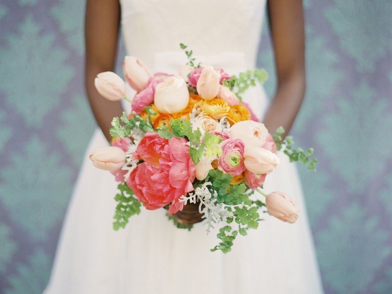 romantic wedding flowers anemone tulip bridal bouquet pink peach green orange