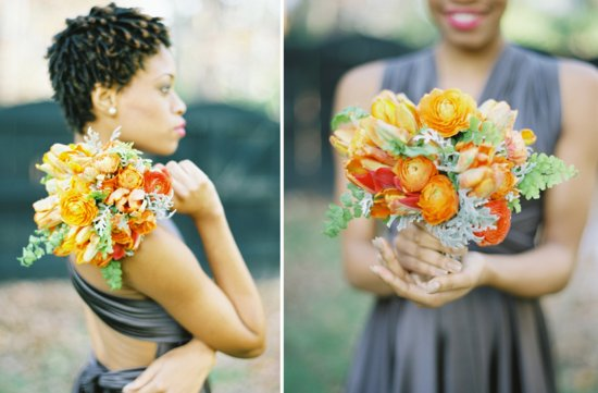 Orange and green bridal bouquet citrus inspired wedding flowers