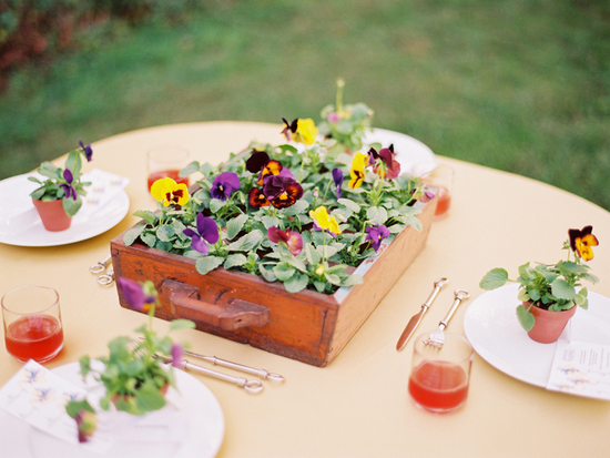 outdoor wedding ideas for vintage brides wedding flower centerpiece in wood tray