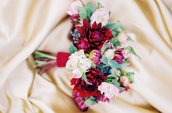 Red Pink Ivory Wedding Flowers Romantic Bridal Bouquet