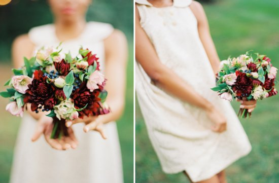 deep red light pink bridal bouquet with green blue details