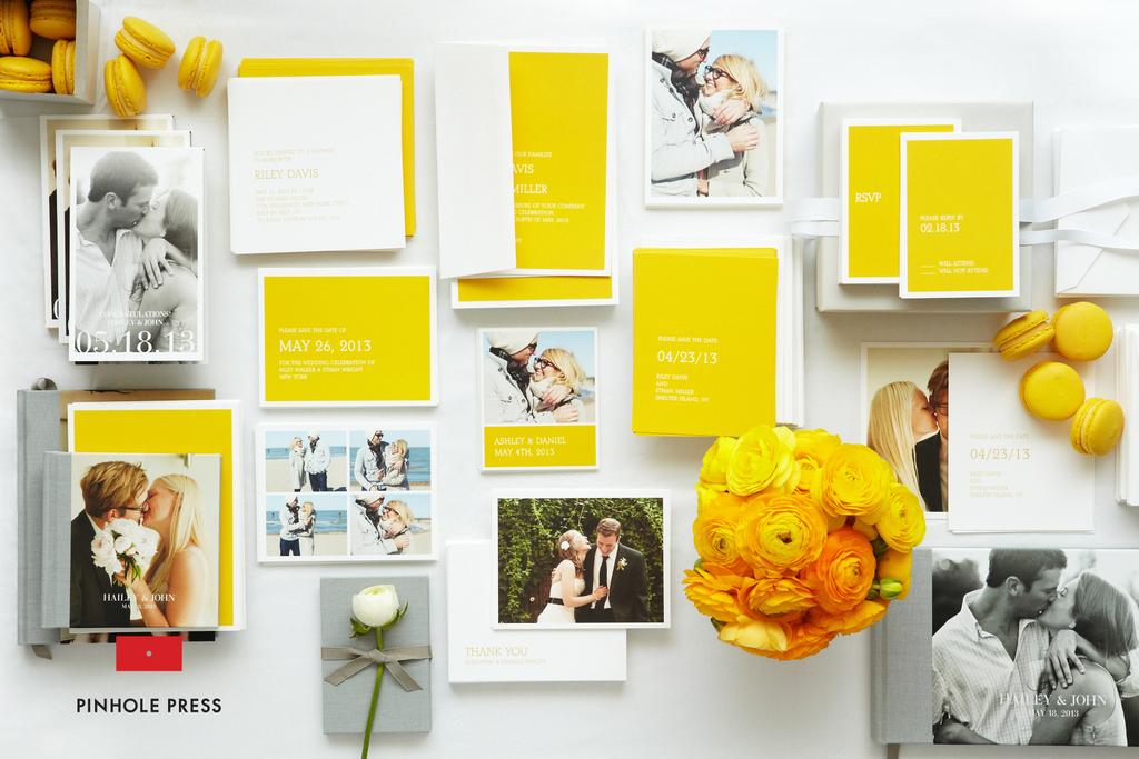 Personalized-wedding-ideas-custom-photo-save-the-dates-wedding-invitations-yellow-white-modern.full