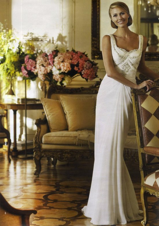 george clooney GF stacy keibler in wedding dresses by Pronovias Spring 2013 4