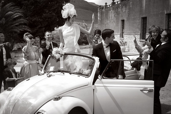 real wedding inspiration destination wedding ideas Sicily Italy bride groom wedding car