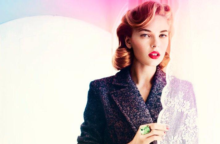 Wedding-hair-makeup-inspiration-retro-bride-red-lips-finger-roll-updo-2.full