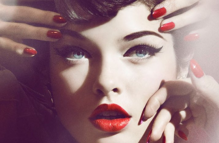 wedding hair makeup inspiration retro waves red lips nails