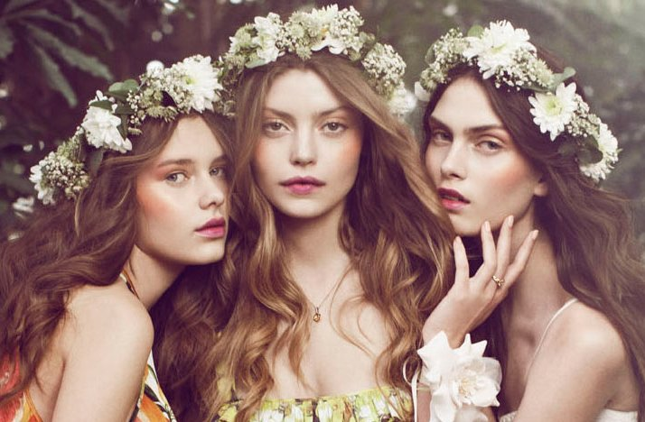 bohemian bride wedding hair makeup inspiration floral crowns romantic