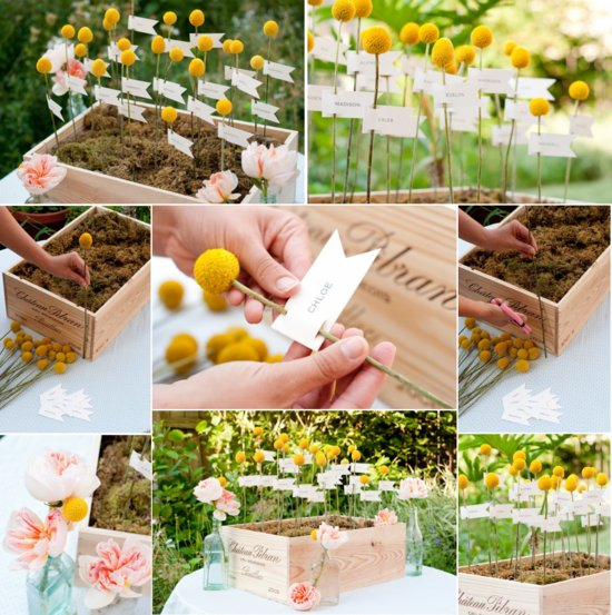 Moss billy ball wedding reception escort cards display in yellow, pink and green.