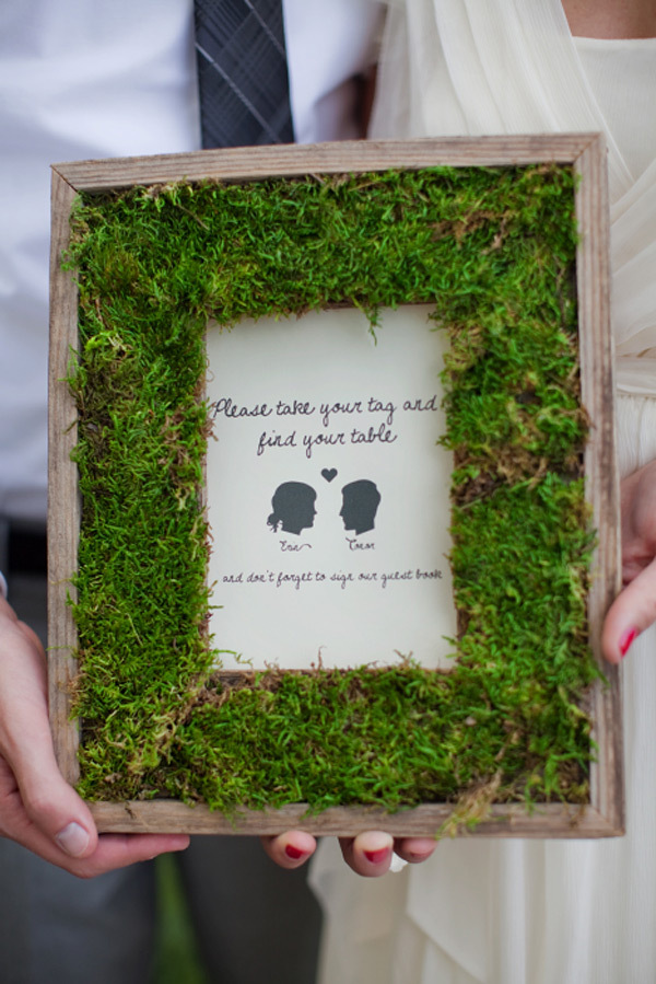 wedding DIY ideas moss covered frame for reception decor
