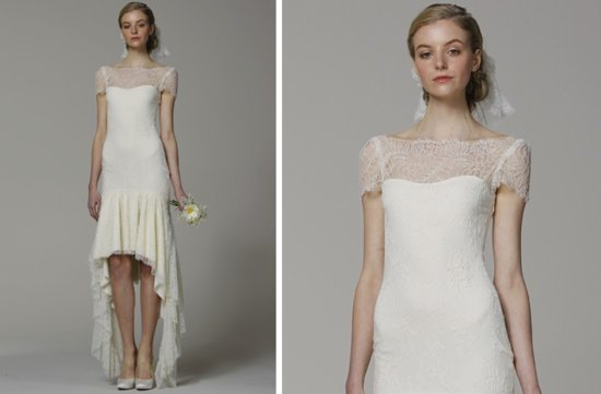 pretties little white wedding dresses spring 2013 Marchesa cap sleeves illusion neckline