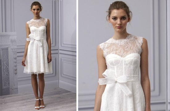 pretties little white wedding dresses spring 2013 Monique Lhuillier lace with bow sash