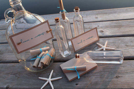 photo of Message in a bottle wedding escort card kit