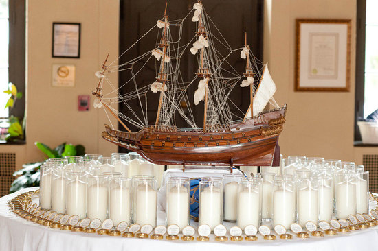 nautical themed real wedding escort card display