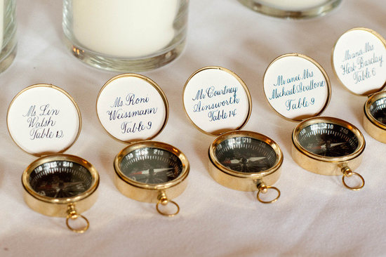 nautical themed real wedding compass guest favors escort cards