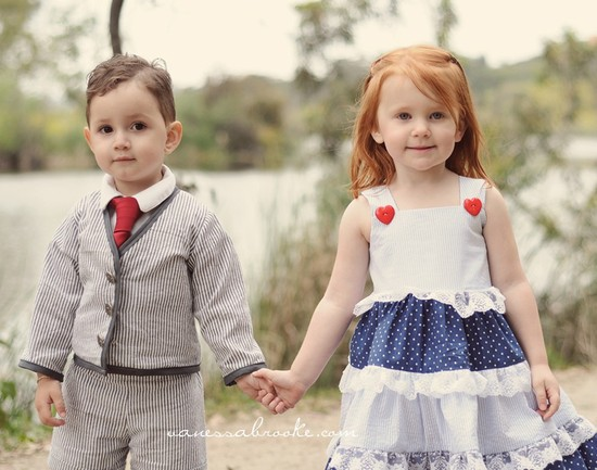 photo of Flower girl dress for nautical or beach wedding