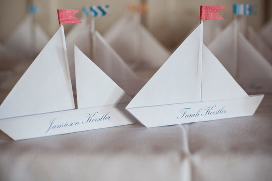 wedding reception escort cards sailboats