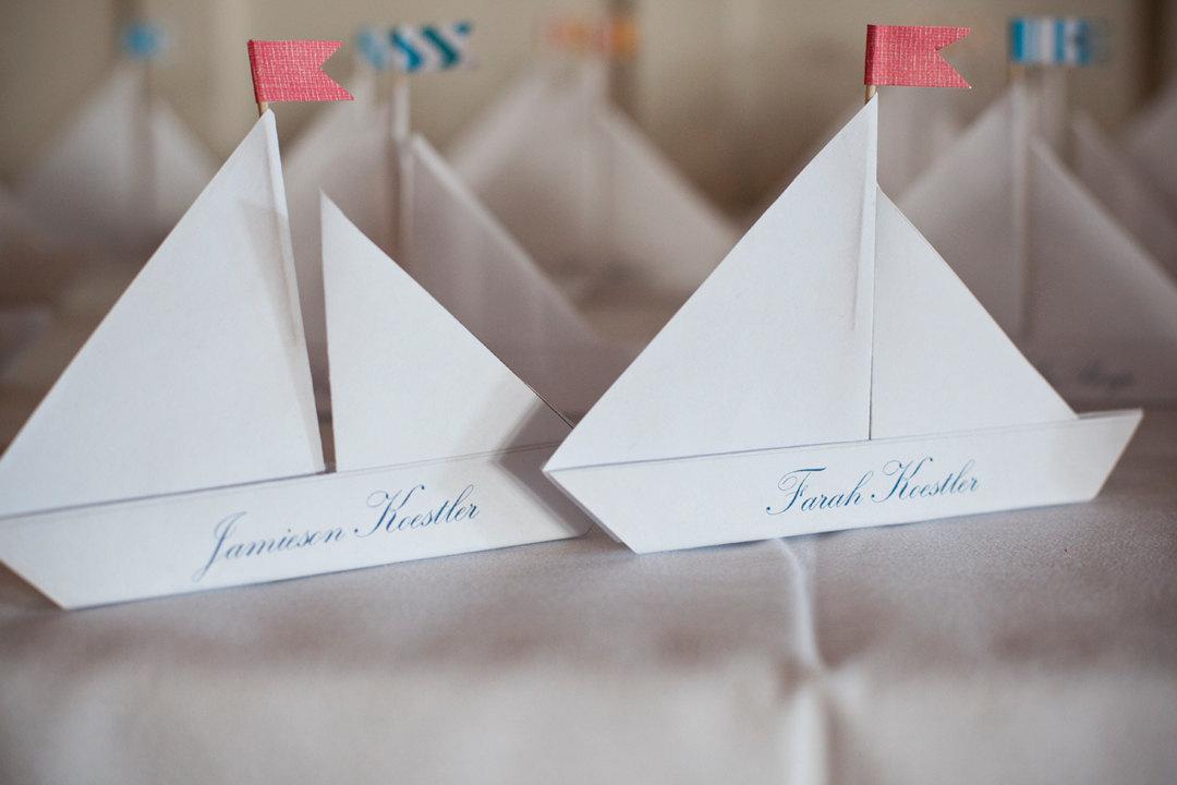 Wedding Reception Escort Cards Sailboats