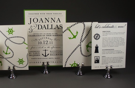 nautical wedding invitations ecru black green