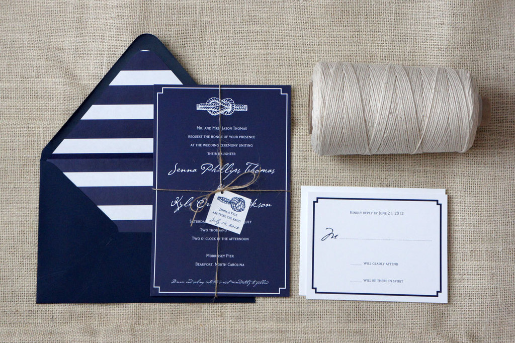 Tie The Knot Navy White Wedding Invitations