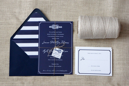 photo of Nautical Tie the Knot wedding invitation
