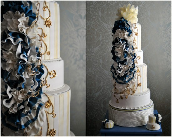 nautical wedding theme real wedding ideas navy gold wedding cake